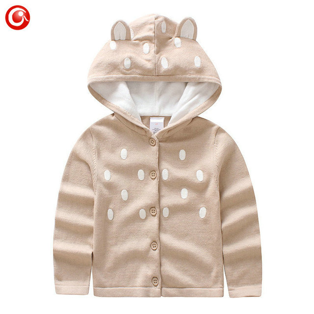 Wholesales 6pcs/lot Baby Sweater Boys Hooded Sweaters Cardigan Girls Knitted Cartoon Deer Ear Clothing Clothes Knitted Costume