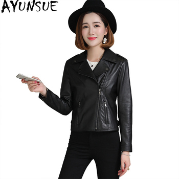 Genuine Leather Jacket Women Spring Short Sheepskin Coat Black Motorcycle Korean Slim Leather Jackets Leren Jas Dames KJ1971