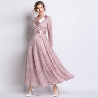 2019 Runway Elegant Slim High Waist Satin Patchwork Notched Collar Vintage Pink Lace Dress Hollow Out A Line Women Long Dresses