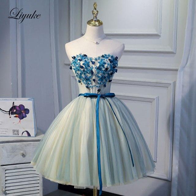 Liyuke Heart Appliques On Bust Part With Belt Prom Dress  A Line Strapless Party Dress Knee-Length Dress