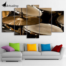 5 Piece Canvas Art HD Printed Vintage Drum Painting Music Instrument Wall Pictures for Living Room Free Shipping CU-1883A