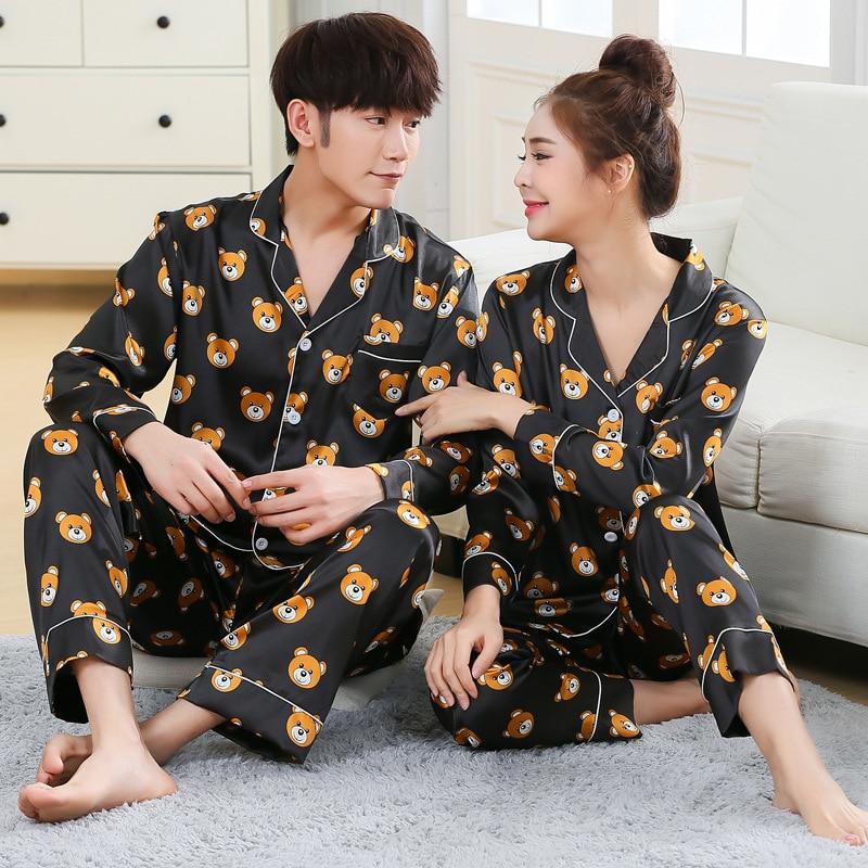 New Fashion Men Pajama Sets Spring Autumn Pyjamas Set Nightwear Long-sleeve Cartoon Lovers Homewear Couples His-and-hers Clothes