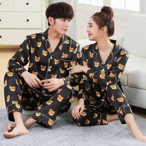 Image 1 - Nieuwe Mode Mannen Pyjama Sets Lente Herfst Pyjama Set Nachtkleding Lange Mouwen Cartoon Liefhebbers Homewear Koppels Zijn En Haar Kleding