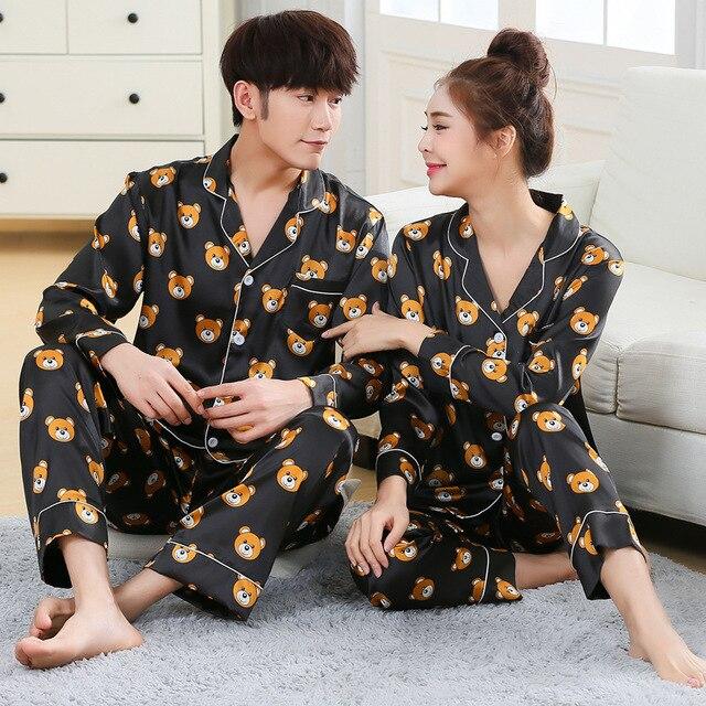 Pyjama pour hommes, ensemble nouveau mode printemps automne, vêtements de nuit, manches longues, dessin animé, amoureux, couple