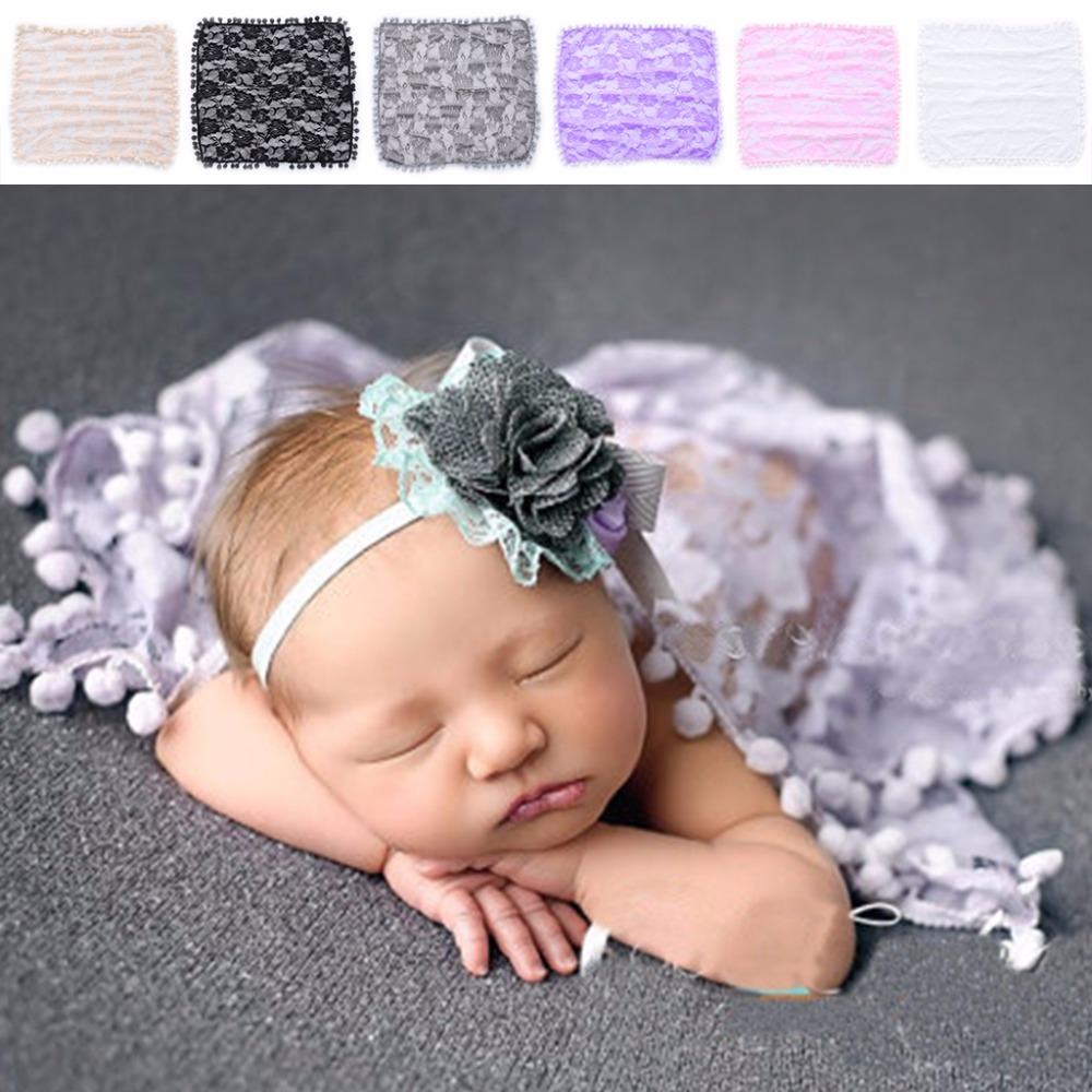 Newborn Baby Toddler Tassel Lace Wrap Cloth Photo Photography Prop Blanket Rug