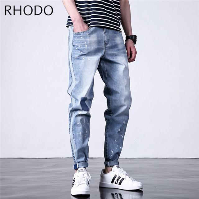 Men/'s Elastic Waist Loose Denim Pants Stretch Taper Fit Jeans Plus Size M-7XL