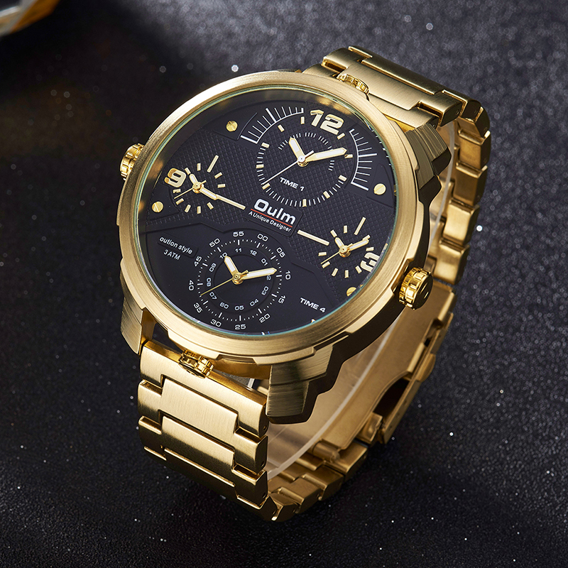 Oulm Watches Top Brand Luxury Sport Quartz Men Watch Big Size Dial Multiple Time Zone All Steel Men Watches Gold Male Clock