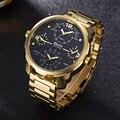 Мужские кварцевые часы Oulm  спортивные  стальные  с большим циферблатом и несколькими часовыми зонами  золотого цвета