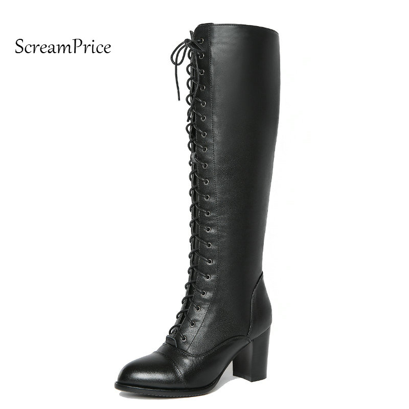 Woman Genuine Leather Knee High Boots Fashion Side Zipper Dress Calf Boots Lace Up Round Toe Winter Boots Black new arrival superstar genuine leather chelsea boots women round toe solid thick heel runway model nude zipper mid calf boots l63