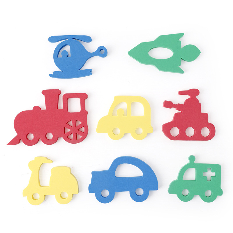 Soft EVA Kids Water Toys For Bathroom Cute Cartoon Animal Transportation Puzzle Baby Bath Toys Early Educational Suction Up Toy