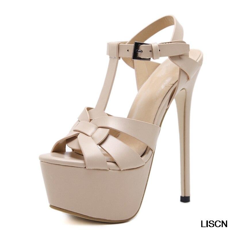 aae1c4a8f4435 Beige Chaussures Dames Talons noir Sexy Sandales Femmes T strap Minces  Voiture formes Show Hauts Épais ...