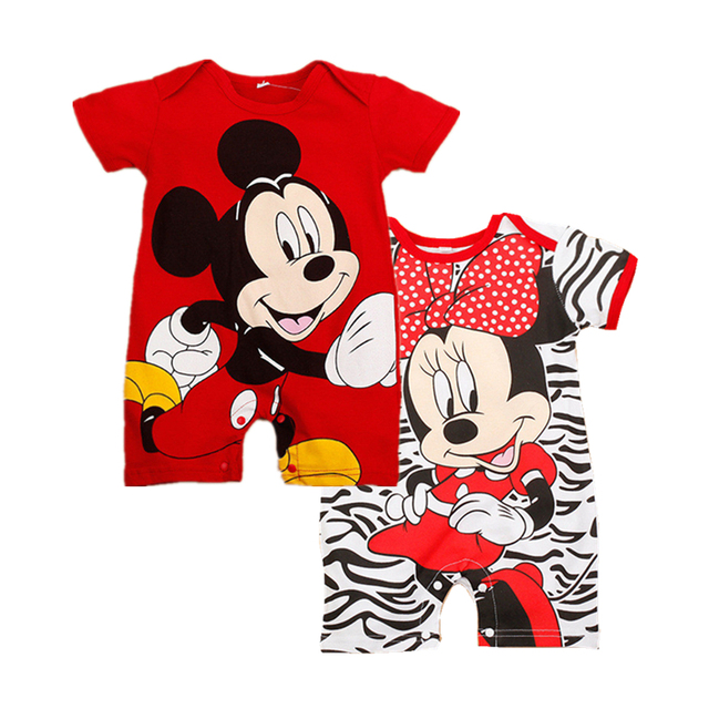 3fbb85b2d58c5 US $8.49 |Summer Baby Girl Rompers Cartoon Mickey Minnie Clothes Short  Sleeve Cute Baby Boy Clothing Set Cotton Newborn Infant Jumpsuits-in  Rompers ...