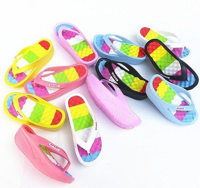 b37f37fb23b Women summer rainbow sandals girl platform wedge slipper women healthy foot  massage swaying beach flip flops vogue sandals