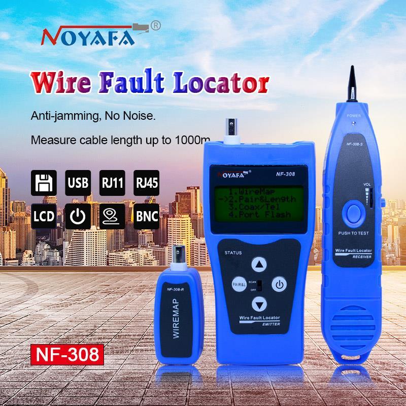 купить Network monitoring cable tester LCD NF-308 Wire Fault Locator LAN Network Coacial BNC USB RJ45 RJ11 blue color NF_308 онлайн
