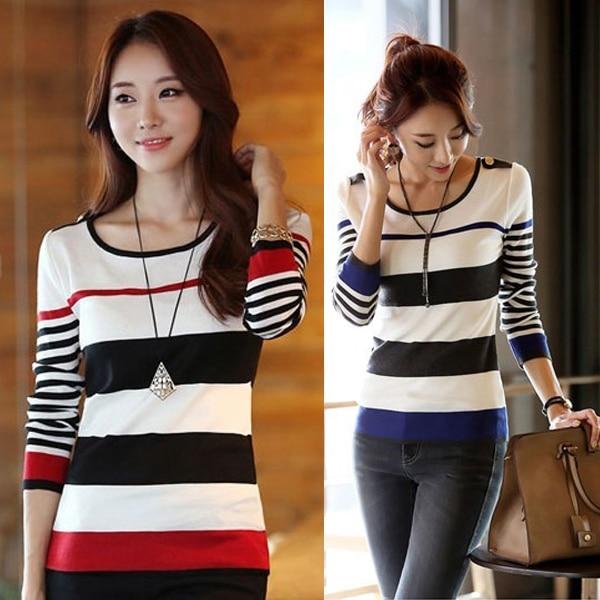 Autumn Women Lady Top Long Sleeve Round Collar Stripe Slim Medium Length Fashion FS99