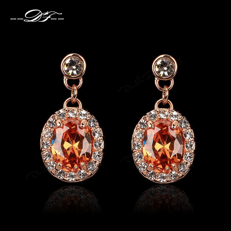 Orange/Clear Austrian Crystal Drop/Dangle Earrings Rose Gold Color Fashion Crystal Jewelry For Women Anel DFE127