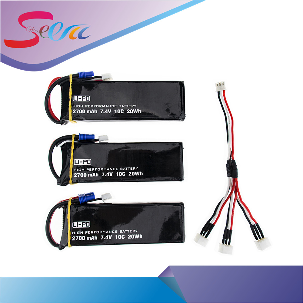 3pcs Hubsan H501S 7.4V 2700mah battery 10C lipo and 3in 1 cable for Hubsan H501C rc Quadcopter Airplane drone Spare Parts lipo battery 7 4v 2700mah 10c 5pcs batteies with cable for charger hubsan h501s h501c x4 rc quadcopter airplane drone spare