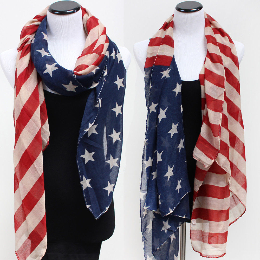 Unisex USA American Flag Stars Striped   Scarf     Scarves     Wrap   100% Viscose Blue Red