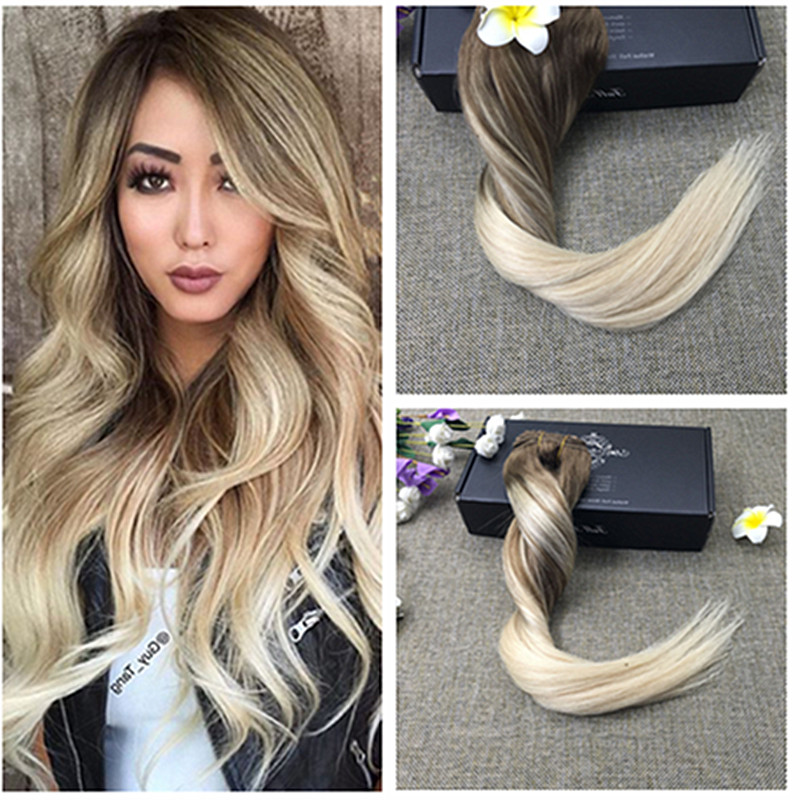 Full Shine Balayage Color 8 Ombre Color 60 Blonde Clip in Human Hair Extensions 14inch to 24inch Brazilian Remy Hair Extensions