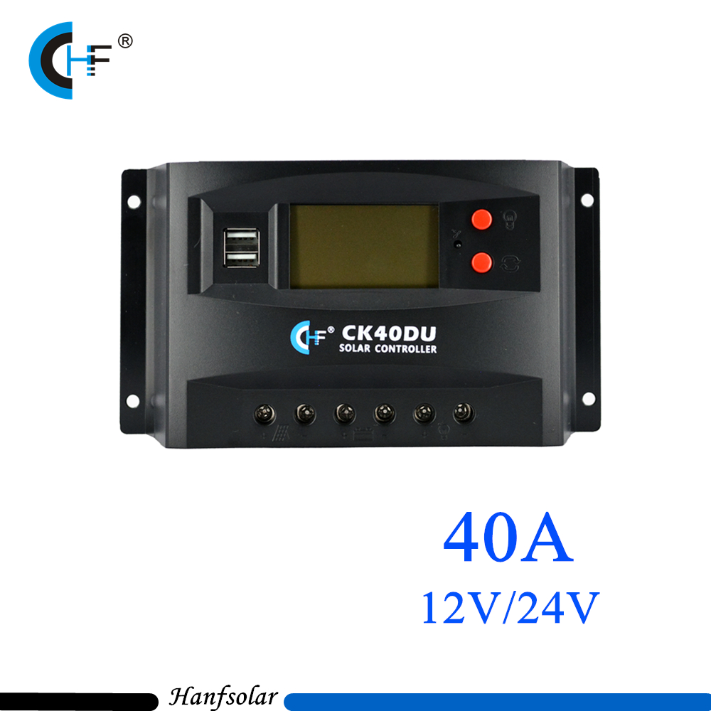 ФОТО 40A 12V 24V PWM Solar Charge Controller with LCD Display and USB harging port for Solar Panel System