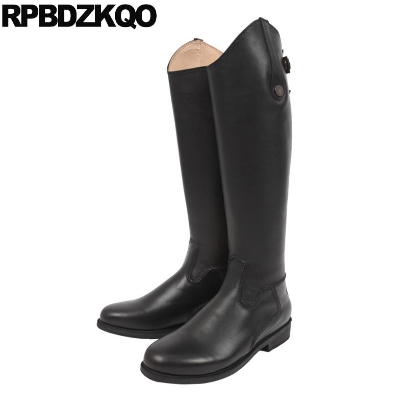где купить  Riding Round Toe Elegant Low Heel Slim Boots 10 Black Knee High Wide Calf Luxury Brand Shoes Women Genuine Leather Big Size Slip  по лучшей цене