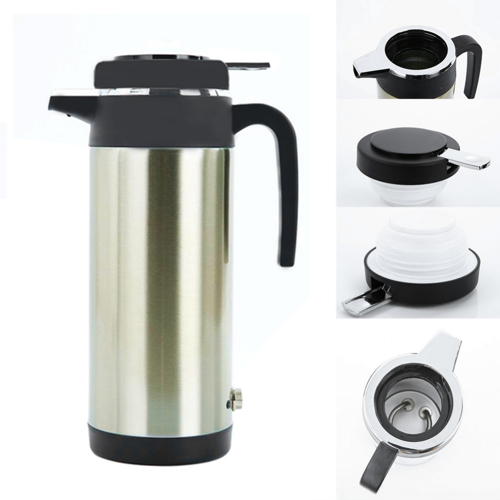 1.2L Large Capacity Electric Kettle Car Boiling Kettle Stainless Steel 12V Car Based Heating Cup Thermo Coffee Tea Heated Kettle цены
