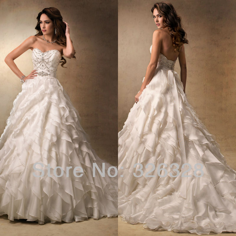 2013 Sparkle And Ruffles Sweetheart A Line Court Train Tiered Bustle ...