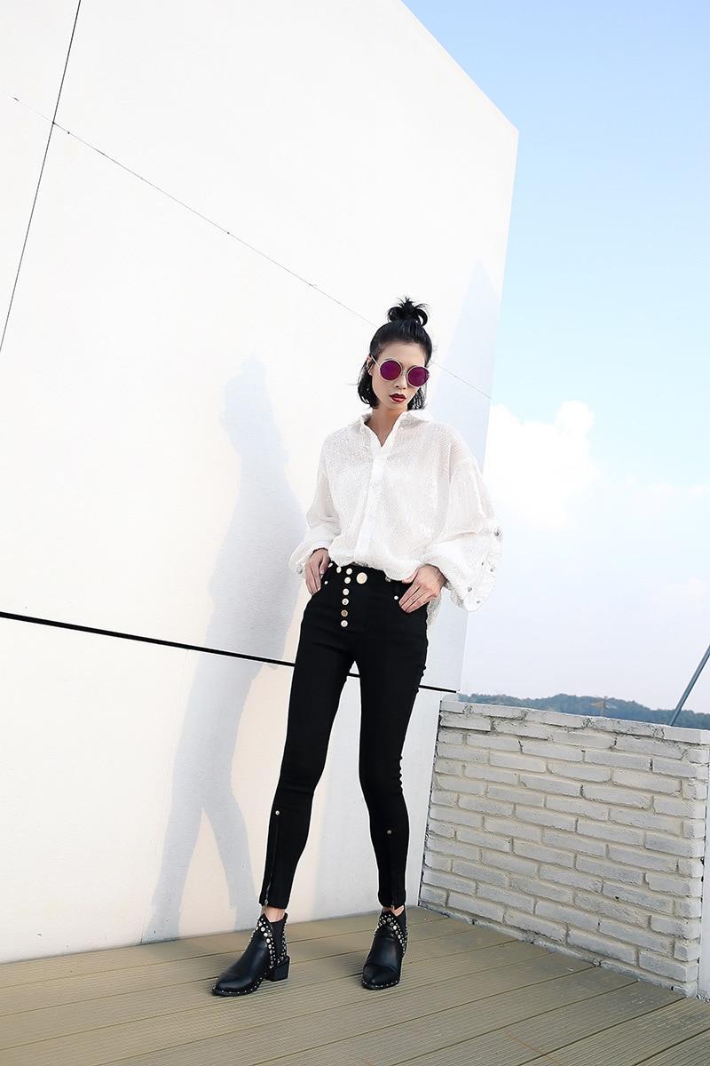 Bling Top Blanc Lanterne Femmes Gladself T Sequin Chemise Casual Conception Vêtements Automne Mode à Long shirt Simple Manches Femelle U6Swqzwx