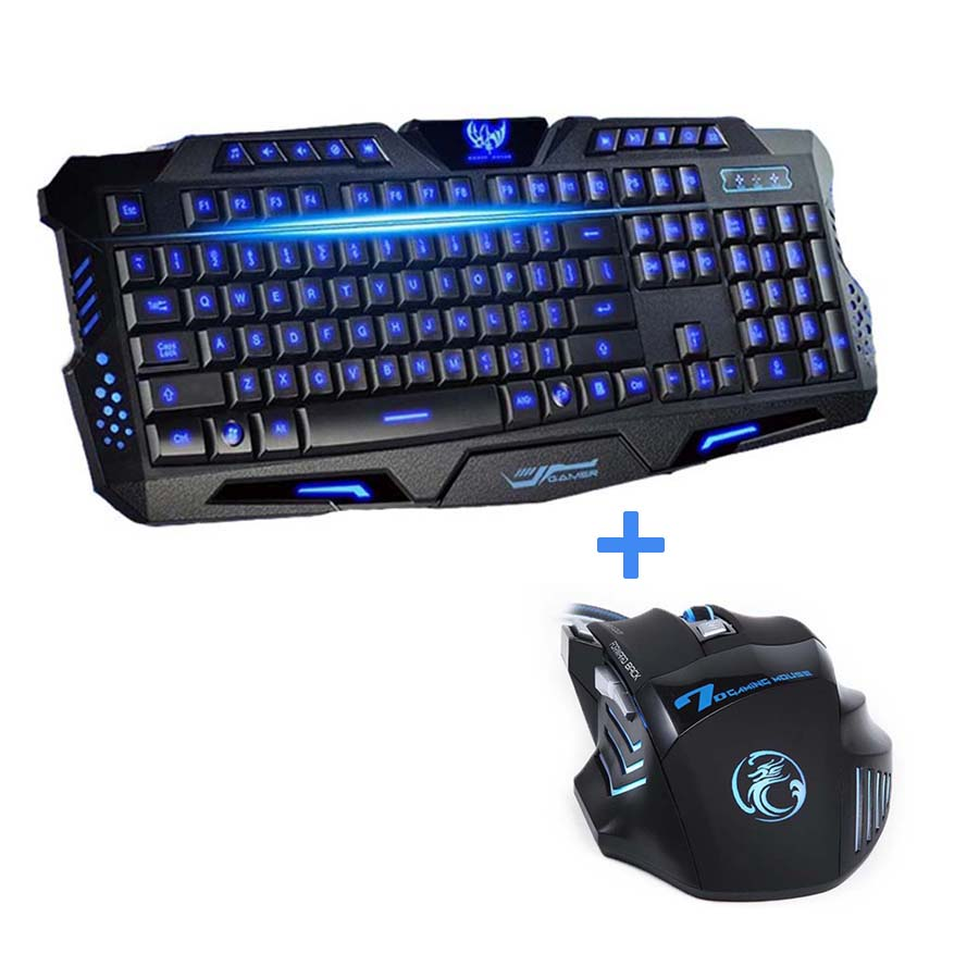 Tri-color USB Bedrade LED-achtergrondverlichting Laptop Computer Gamer-toetsenbord Muis Combo Optical Pro 7 knoppen 5500 DPI Gaming Mouse