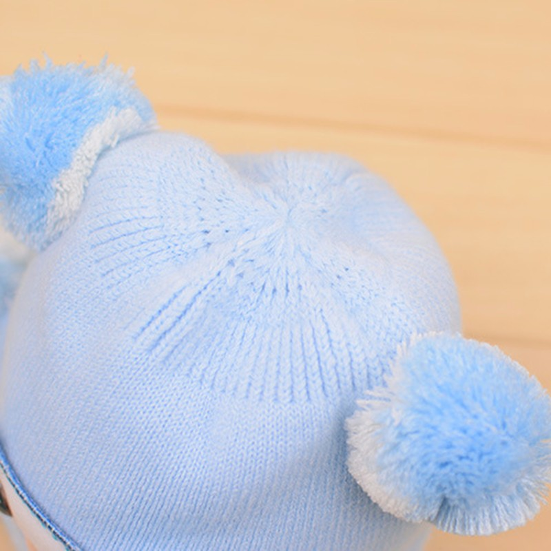 Bear Baby Hat Cotton Infant Caps Warm Ear Boys Beanies Thick Winter Girl Hats Autumn Toddler Cap With Pompom Accessories Newborn (8)