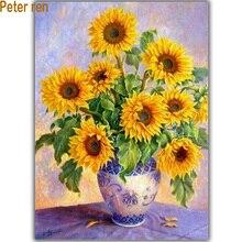 Diy diamond painting Cross stitch kit Sunflower Vases Handicraft and art Needlework 3d square drill mosaic 100% Full Embroidery