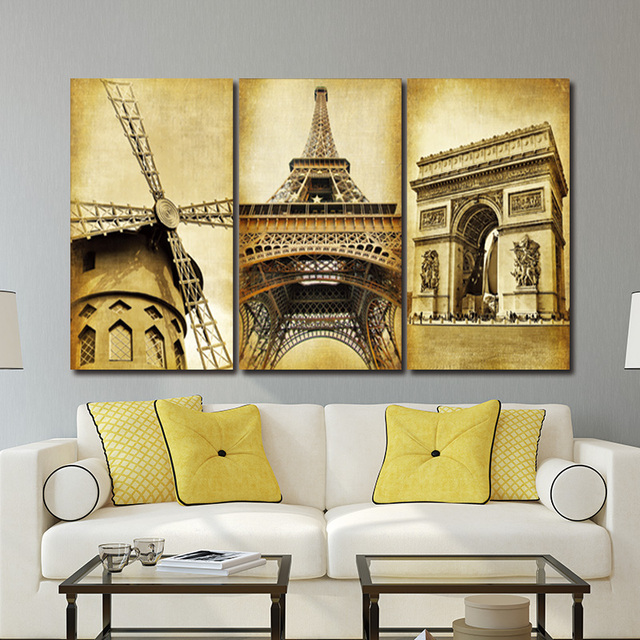 Wall Art Picture 3 Piece Wall Art Europe Architecture Paris Prints ...