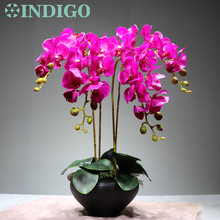 Flower Arrangment Orchids With Leaves Real Touch Table Wedding Party Fake Decorative Event Free Shipping