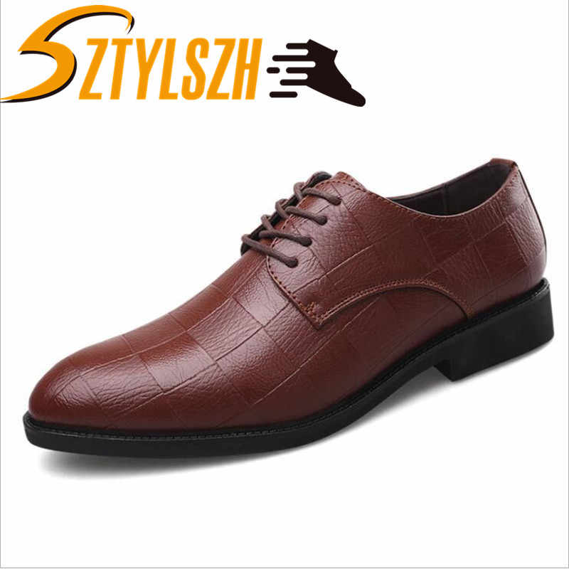 New summer Fashion Business Men Casual Shoes Leather High Quality Men's brogue Flats Retro Carved British Style Dress Shoes 3848