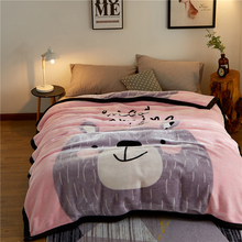 Papa&Mima Big bear Print Thick warm Throw Blankets Raschel Fabric Plaids multisize Bedsheet multifunctional bedspread