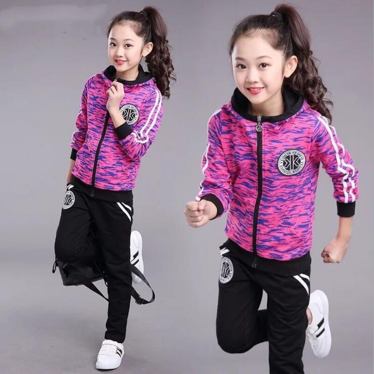 Hooded Children's Sport Suit Spring Autumn Casual Print Boys Clothes Long Sleeve Zipper Coat+Trousers Sets Girls Tracksuits men s spring fashion casual sport print hood sweatshirts trousers two piece suit