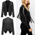 Women New Long Sleeve Back Tassels Long Leather Tassels Jacket The Misfit Fringe Color Black Slim Boyfriend Style PU Jacket Coat