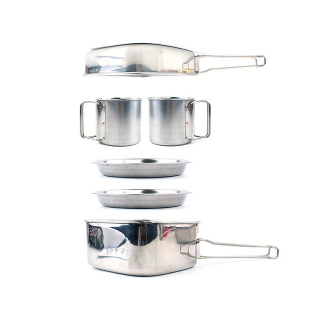 6pcs sets Korean picnic portable set of pot folding set frying pan cookware kitchen accessories