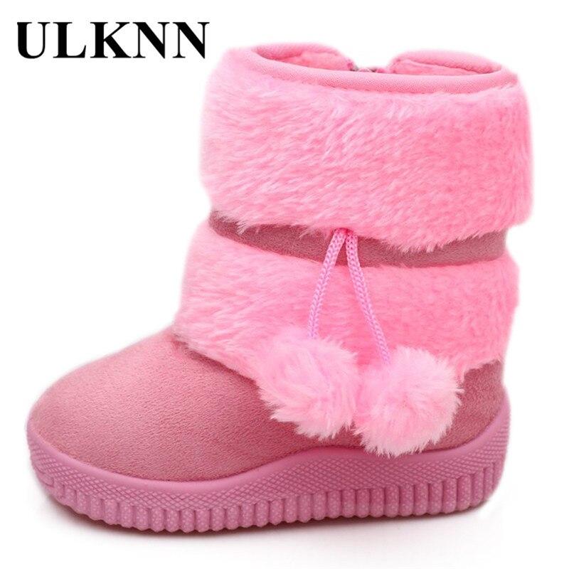 ULKNN Kids Girls Winter Boots Children Snow Boots Warm Short Plush Flock Platform Fur Fashion Pompon Pink Red Purple Size Plus