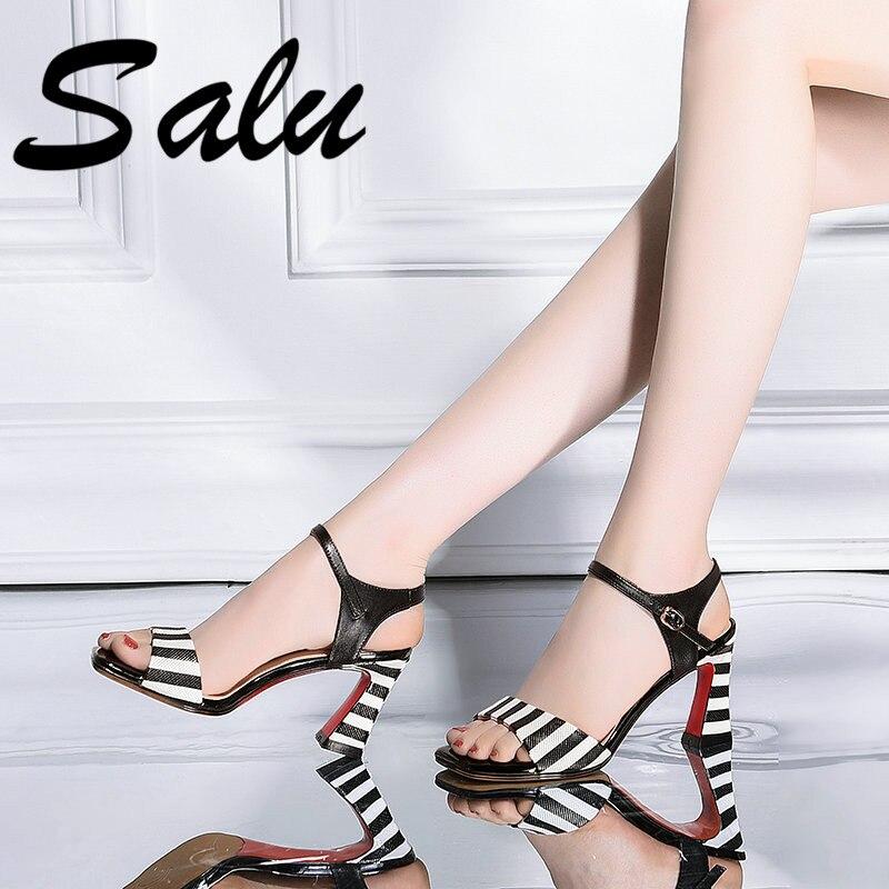Salu Fashion High Quality Real Genuine Leather Sandals Summer Shoes Woman Ladies Elegant Black Shoes Sandals