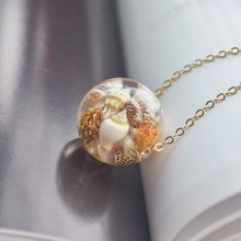 Ocean Beach Conch Sea Resin Ball Pendant Gold Color Chain Long Necklace Women Boho Fashion Jewelry Bohemian Vintage Handmade