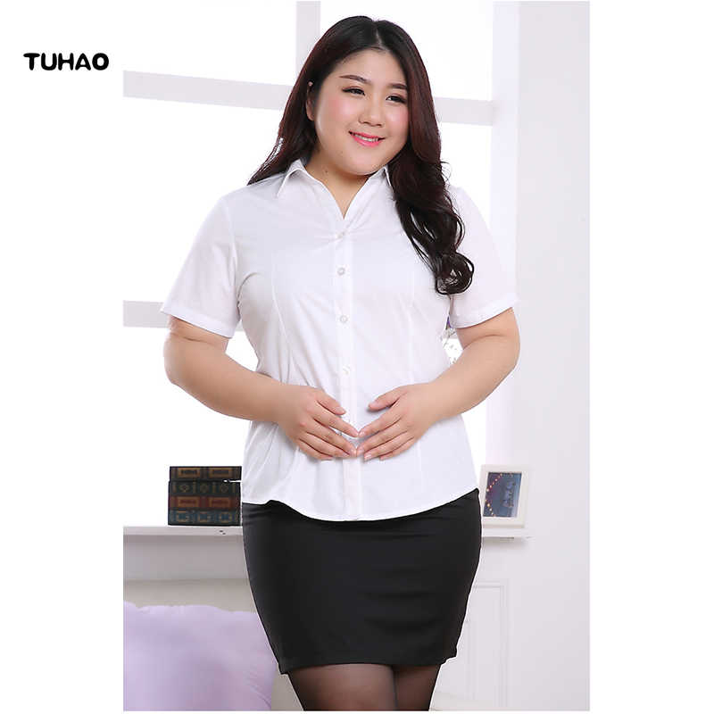 b9c7420d7a16 TUHAO 2018 летние офисные женские блузки рубашки плюс Размеры 5XL 6XL 8XL  10XL Для женщин ...