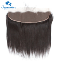 Sapphire Straight Remy Brazilian Human Hair Lace Frontal With Baby Hair 1B Color For Hair Salon