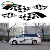 HotMeiNi 2 X Flapping In The Wind Racing Checkered Flag Car Styling Accessories Art Car Sticker Stripe JDM Vinyl Decal 13 Color