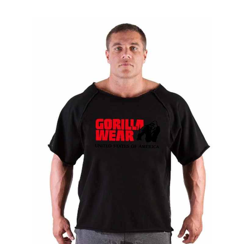 Мужская Горилла ГОЛДС тренажерный зал фитнес мышцы Спортивная одежда футболка для бодибилдинга тренировки бег футболки хлопок свободная футболка с черепом