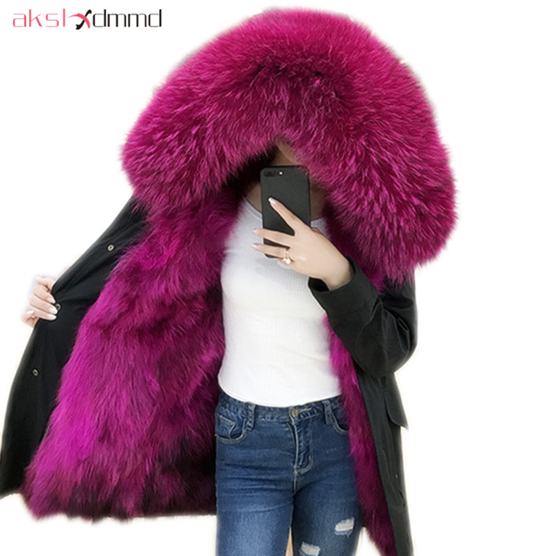 Long Winter Jacket 2019 New Fashion Women Luxurious Large Raccoon Fur Collar Hooded Coat Warm Fox Fur Liner Coat   Parkas   LH1270