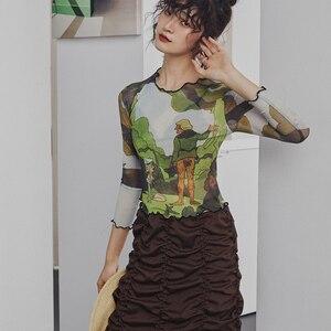 Image 2 - Cheerart רשת בציר יבול חולצה ארוך שרוול קיץ הדפסה העליונה ריקודי דיסקו Bodycon מעצב למעלה גבירותיי