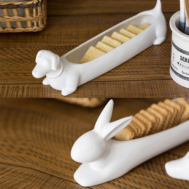 Créatif en céramique lapin cookie bonbons plaque Dessert Snack plateau lapin plaque décor maison teckel chien plateau artisanat chambre décoration