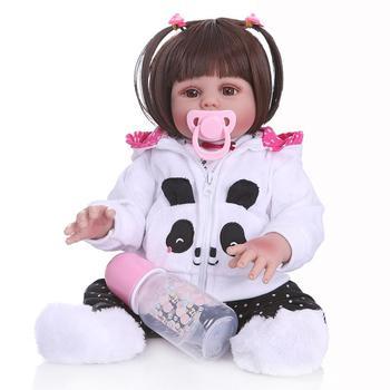 all body Silicone Reborn Baby girl Dolls With Panda clothes 48CM vinyl Baby Reborn Realistic bath toy Boneca Kids Playmate gift