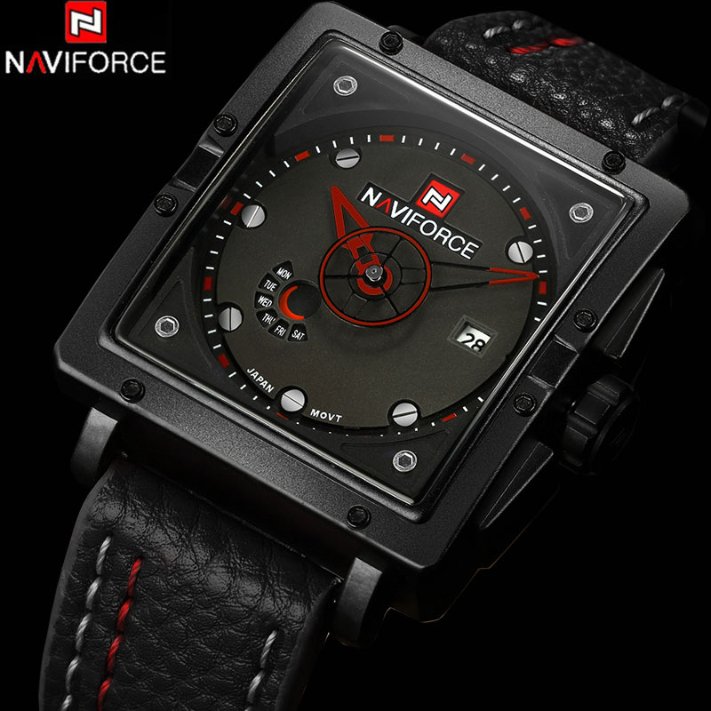 NAVIFORCE Men Sports Watches Men's Quartz Hour Date Clock Man Leather Strap Military Army Waterproof Wrist Watch Male Relogio voodoo ii shark army auto date black silicone strap military wristwatch sports clock men military quartz wrist watches saw177